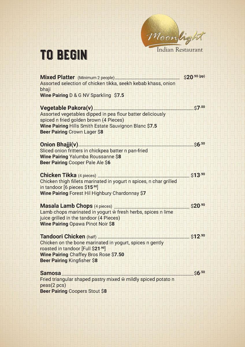 Begin Menu Prices