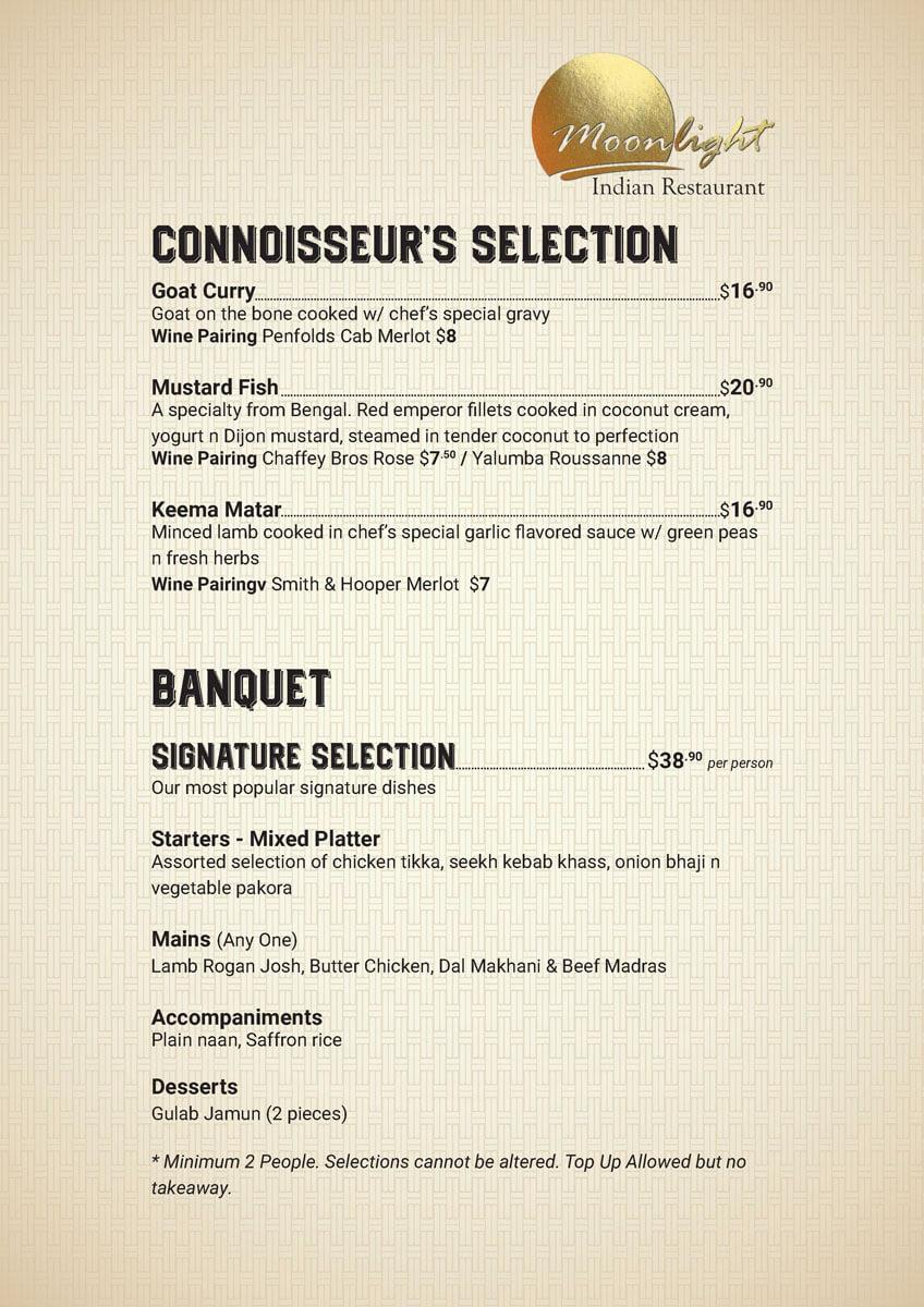 Connoisseur's Selection Menu