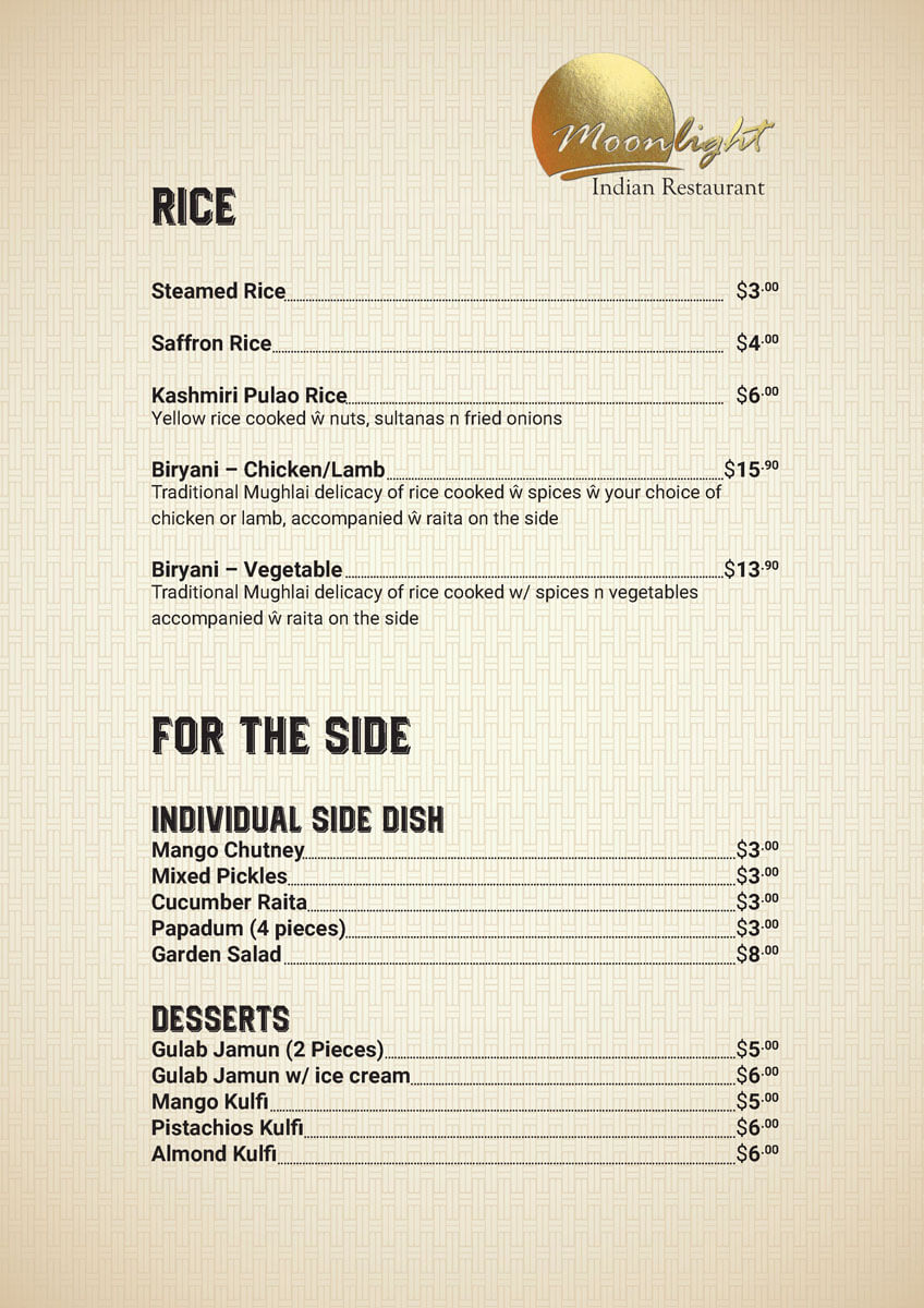 Rice and for the side price with Menu