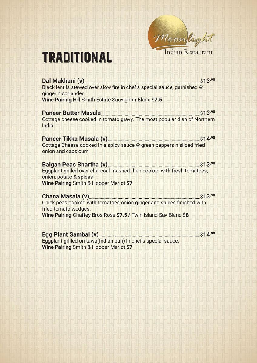 Traditional Price Menu