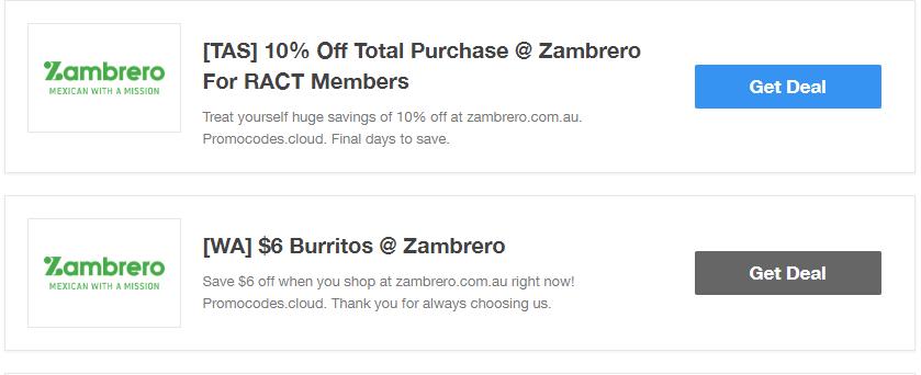 Zambrero Restaurant Coupons