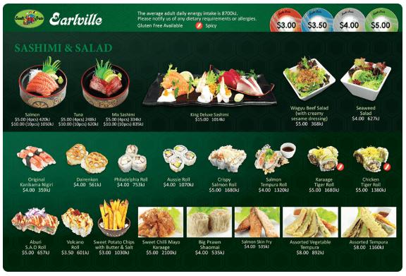 Sashimi & Salad Menu