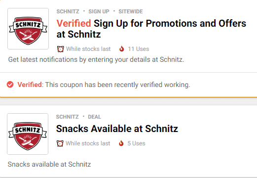 Schnitz Restaurant Coupons