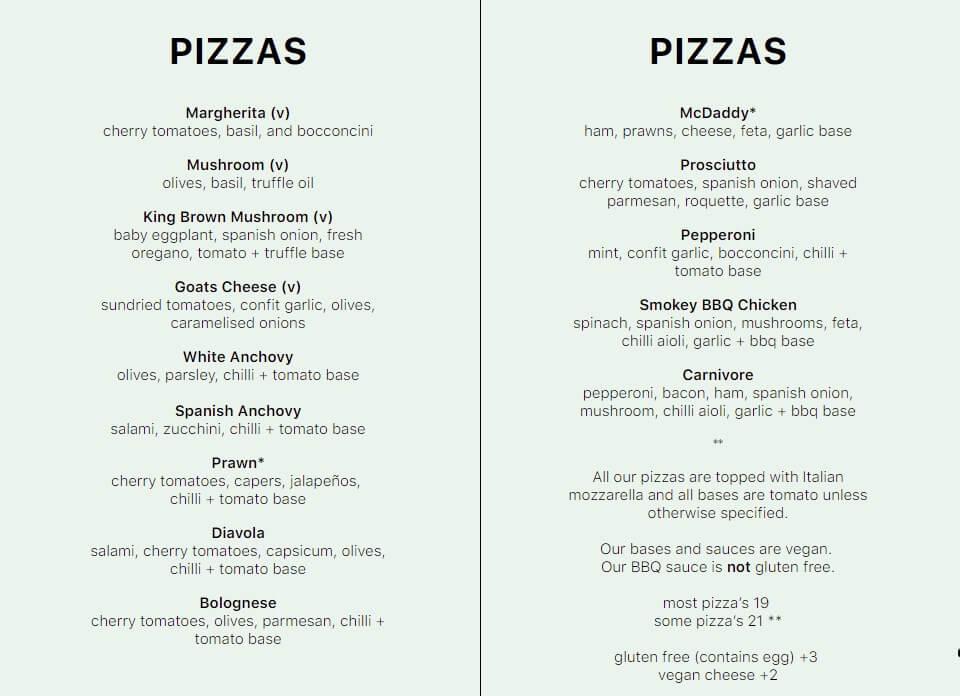 pizzas menu